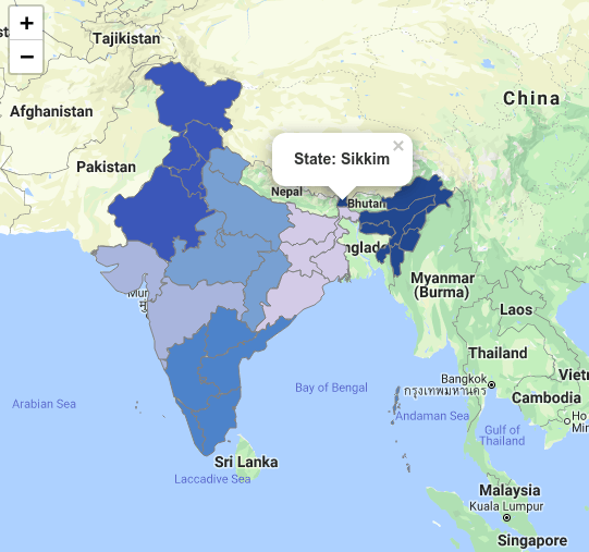 Map of India based on GeoJSON and Leaflet